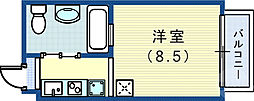 JR東海道・山陽本線 三ノ宮駅 徒歩9分の賃貸アパート 2階ワンルームの間取り