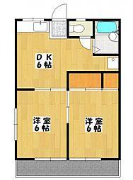 芳田ハイツ[1階]の間取り
