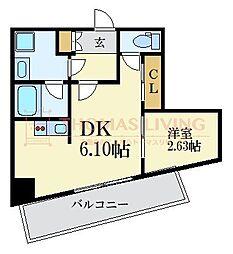 福岡市地下鉄七隈線 薬院大通駅 徒歩5分の賃貸マンション 7階1DKの間取り