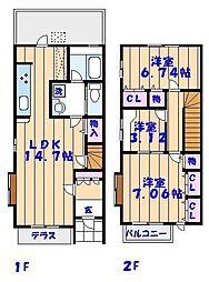 [テラスハウス] 千葉県市川市塩焼1丁目 の賃貸【/】の間取り