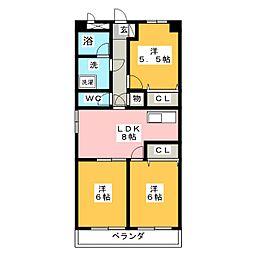 メゾンオカド[4階]の間取り