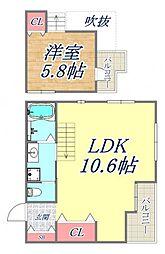 オーズハイツ新神戸 3階1LDKの間取り