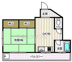 東京都新宿区原町の賃貸マンションの間取り