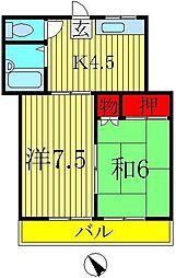 東初石コーポ[2階]の間取り