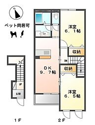 愛知県稲沢市平野町1丁目の賃貸アパートの間取り