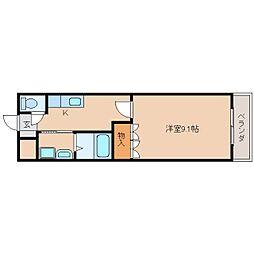 近鉄天理線 二階堂駅 徒歩5分の賃貸マンション 2階1Kの間取り