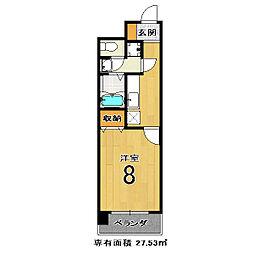 メゾン・ヴィーナス 5階1Kの間取り