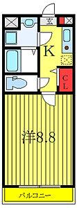 間取り,1K,面積25.54m2,賃料7.0万円,東武東上線 東武練馬駅 徒歩11分,東武東上線 上板橋駅 徒歩21分,東京都板橋区徳丸1丁目