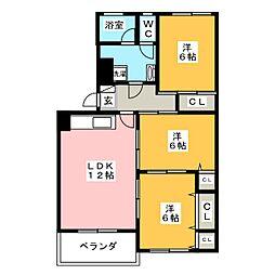 三日月住宅6号棟[3階]の間取り
