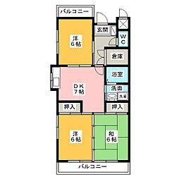 コーポKAMADA[4階]の間取り