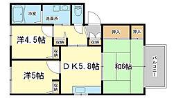 レジデンス新在家[B201号室]の間取り