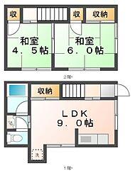 [タウンハウス] 岡山県岡山市北区久米 の賃貸【/】の間取り