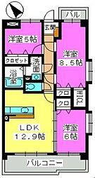 福岡県福岡市博多区諸岡1丁目の賃貸マンションの間取り