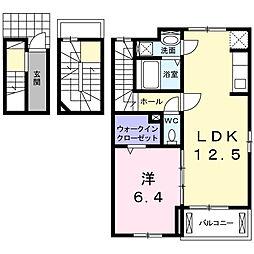 東合川6丁目アパート 3階1LDKの間取り