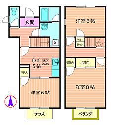 [テラスハウス] 神奈川県相模原市緑区元橋本町 の賃貸【神奈川県 / 相模原市緑区】の間取り