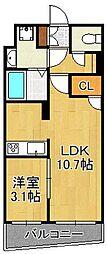 Erde三萩野 6階1LDKの間取り