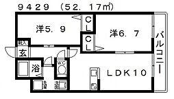 ガーデンコート丹南[202号室号室]の間取り