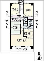 ファミール日進壱番館604号室[6階]の間取り