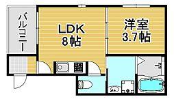 JR東西線 御幣島駅 徒歩10分の賃貸アパート 3階1LDKの間取り