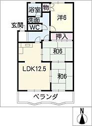 シャトー清城[4階]の間取り