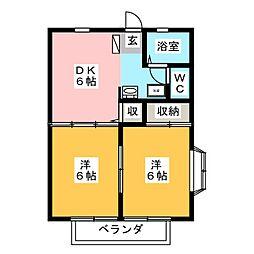 白沢ハイツA[1階]の間取り