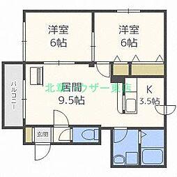 北海道札幌市東区北九条東16丁目の賃貸マンションの間取り