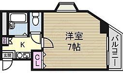 KASEYA新大阪 4階1Kの間取り