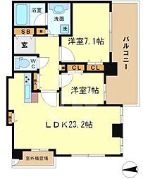ベルファース大阪新町 20階2LDKの間取り