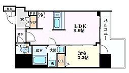 プレサンス北浜オリジン 11階1LDKの間取り