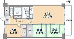 八戸ノ里ニュースカイハイツ[2階]の間取り