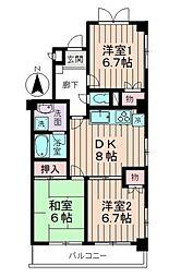 東京都武蔵野市境南町5丁目の賃貸マンションの間取り