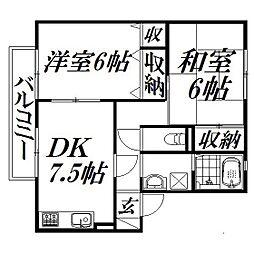 静岡県浜松市西区大平台4丁目の賃貸アパートの間取り