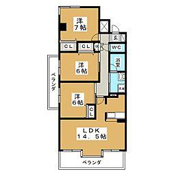 S−BOX泉[4階]の間取り