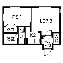 upper village南円山(アッパーヴィレッジ) 4階1LDKの間取り