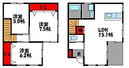 [テラスハウス] 福岡県福岡市東区香住ケ丘5丁目 の賃貸【/】の間取り