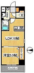 西鉄天神大牟田線 西鉄久留米駅 徒歩7分の賃貸マンション 2階1LDKの間取り
