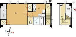 西村ビル1K[2階]の間取り