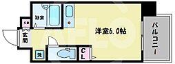 L-FLORA此花(エルフローラ此花) 9階ワンルームの間取り