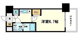 アドバンス新大阪ラシュレ 6階1Kの間取り
