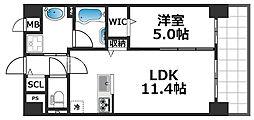グランパシフィック花園Luxe 10階1LDKの間取り