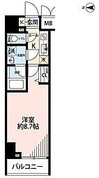 東京メトロ千代田線 湯島駅 徒歩1分の賃貸マンション 11階1Kの間取り