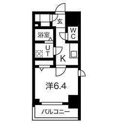 エスリード名古屋STATION WEST 4階1Kの間取り
