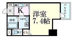 Osaka Metro谷町線 谷町四丁目駅 徒歩7分の賃貸マンション 8階1Kの間取り