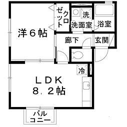 大阪府泉大津市本町の賃貸アパートの間取り