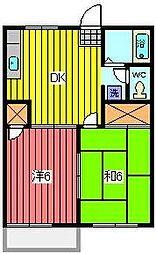 埼玉県川口市柳崎2丁目の賃貸アパートの間取り