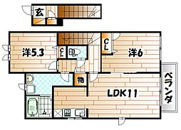 プレミール・G・さくら館 B棟[2階]の間取り