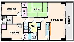 千里山東一番館 2階3LDKの間取り