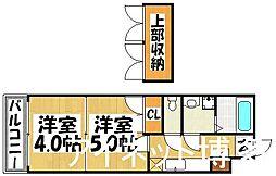 JR鹿児島本線 千早駅 徒歩7分の賃貸マンション 14階2Kの間取り