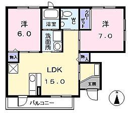 愛知県海部郡大治町大字西條字佐渡の賃貸アパートの間取り