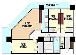 ローレルスクエア大阪ベイタワー[13階]の間取り